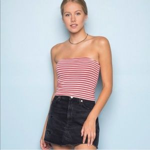 Brandy Melville Jenny Tube Top - Red/White Stripes